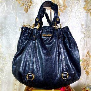 AUTH MIUMIU Vitello Lux Gathered Shopper Shine Bag